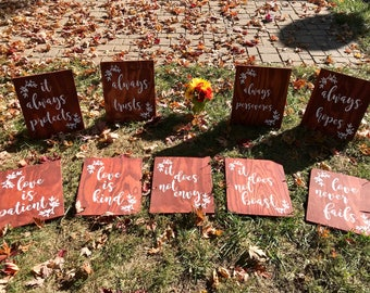 Wedding Aisle Signs, Set of 9, Corinthians 13 Signs, Love is Patient/Love is kind/Love never fails, Wooden Wedding Ceremony signs