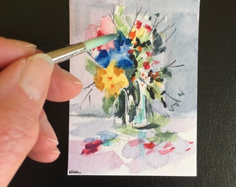 Flowers ORIGINAL Miniature Watercolour Floral Vase painting flower artwork ACEO Watercolor  For him For her Home Decor Wall Art Gift Idea