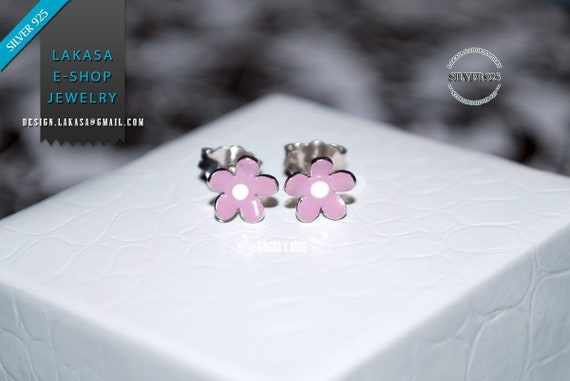 Purple Enamel Flower Studs Earrings Sterling Silver 925 white Gold-plated Handmade Jewelry Baby Girl Moda Gift Kids Collection Floral Design