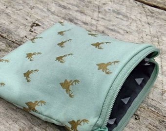 Gold metallic deer on mint square zipper pouch.