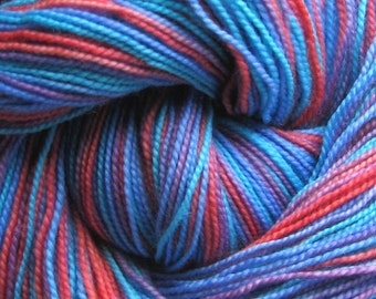 Sock Yarn Superwash Merino/Nylon 400 yds. Hand Painted Turquosie, Blue, Violet