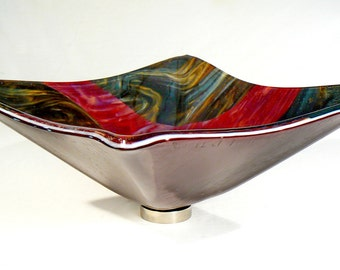 Raspberry And Chocolate Marble Fused Glass Vessel Sink: Square Hand Crafted  Sit On Top Glass Sink