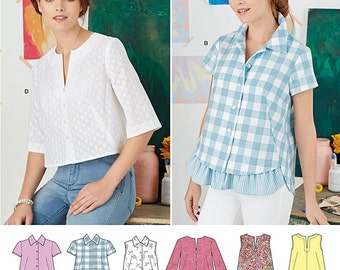 Simplicity Sewing Pattern 8090 Misses' Easy-to-Sew Button Shirt and Pullover Top