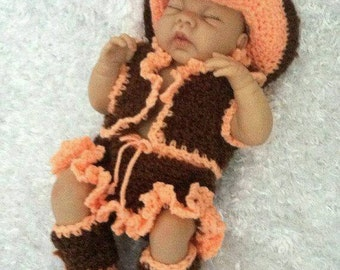 Baby crocheted Cowgirl Outfit