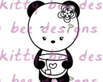 Definitely Tea Panda Digital Stamp