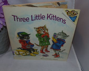 Vintage 1974 Three Little Kittens Book Lilian Obligado Illustrated Please read to me book paperback