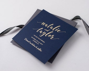 Aurora Suite // Navy and Gold Foil Save the Date