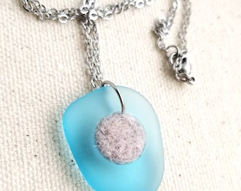 Blue Glass Diffuser Necklace