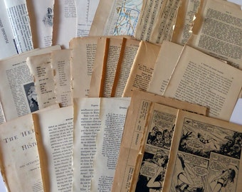 Vintage paper pack, book pages, scrapbooking, mixed media