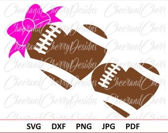 Football Heart SVG Football Bow Svg Football Monogram Svg Football with Bow SVG Htv Vinyl Football Mom SVG American Football Ball Svg Dxf