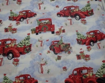 """Country Christmas Fabric, Red Pickup Trucks & Snowmen, 100% Cotton Fabric, 44"""" Wide, By the Half Yard"""