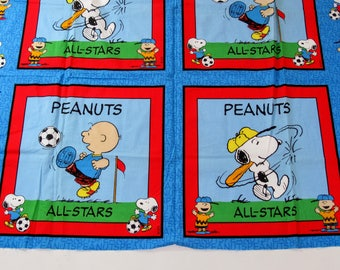 Vintage Peanuts All-Stars Fabric Panel, Snoopy, Charlie Brown, Sports, Baseball, Soccer, United Feature Syndicate Fabric, Charles Schultz