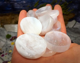 Selenite Palm Stone - Polished Crystal Selenite l - Carved Gemstone Disc  Healing Crystals and Stones Rocks and Minerals Gemstones