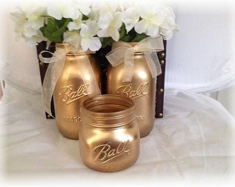Mason Jars for Rustic Glam Weddings Rehearsal/Engagement Parties and Bridal Showers - Gold Metallic Mason Jars