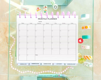 Monthly Planner 2018 Big Happy Planner Printable Letter Size Undated Monthly Monthly Wall Calendar Agenda Sunday Start Instant Download