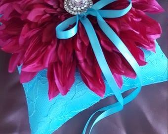 Turquoise Fuchsia Pink Dahlia Ring Bearer Pillow Rhinestone Accent Hot Pink Wedding Ring Pillow