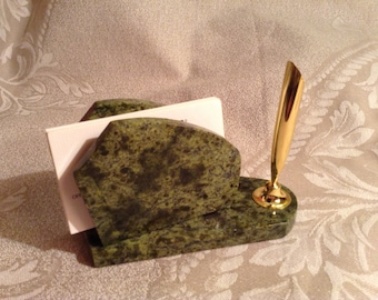 Business Cards Holder Made Of Bright Green Serpentine With Pen Holder