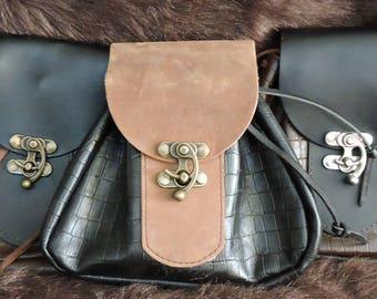 In Stock Large Economy Sporran Design Leather Belt Bag / Pouch Medieval, Bushcraft, Costume, Ren Faire, Black, Alligator Embossed