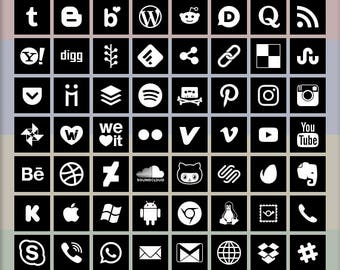 Social Media Icons, 72 logo designs, white on black, square shape, vector & bitmap images