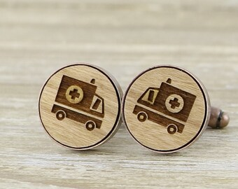 Ambulance Laser Cut Wood Cufflinks - Bronze/Copper/Pewter/Silver/Rose Gold and Gunmetal - Paramedic gift  - Australian Seller
