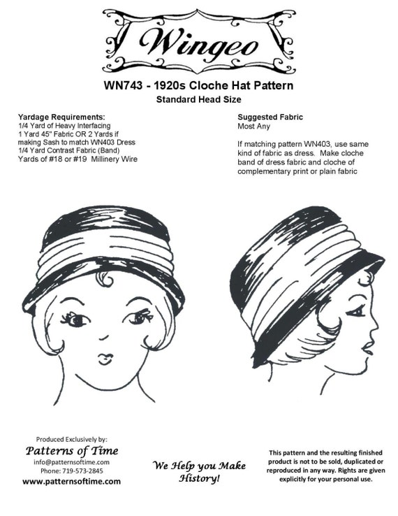 WN743 patrón de costura de 1920 Cloche sombrero por Wingeo