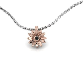 Two Tone Daisy Pendant 14K Rose Gold with Black Diamond