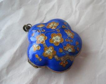 Large Flower Enamel Vermeil Locket Pendant Silver Blue Gold Vintage 800