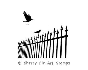 CROWS or RaVeNS on Iron fence- CLING rubber STAMP Q520