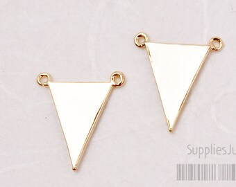 P405-01-G// Glossy Gold Plated Triangle Pendant, 2pcs