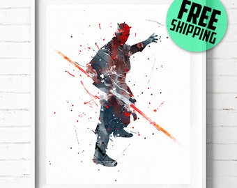 Star Wars Darth Maul print, Star Wars poster, Darth Maul poster, Star Wars print, Darth Maul art, Star Wars wall art, abstract, [291] decor