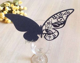 50x Black Butterfly Name Place Card | Wine Glass Flute Wedding & Party Reception Ceremony Banquet Function Table Centerpiece Decoration