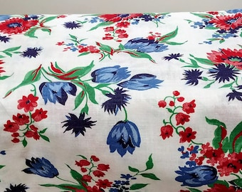 """1940's very light weight woven cotton white floral flour sack  33"""" by 22"""" wide (each side) sack shape with corner string background"""