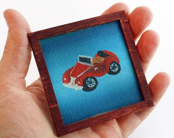 Original Miniature Artwork - Antique Red Roadster