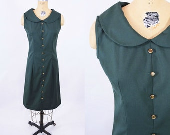 1960s shift dress | hunter green peter pan collar dress | vintage 60s dress | W 29""