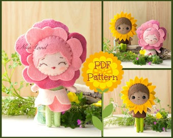 PDF Pattern. The Rose and Sunflower faeries. Plush Doll Pattern, Softie Pattern, Soft felt Toy Pattern.