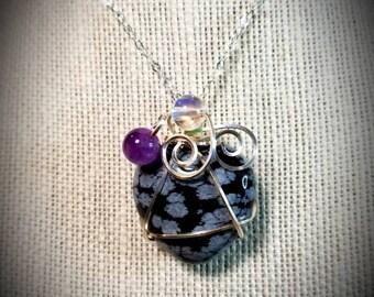 Snowflake Obsidian Amethyst &Aura Quartz Heart
