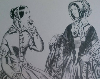 Ladies Fashions 1840s Set of 4 Reproduction Prints Victorian Dresses.