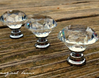 Clear Glass Knob - Vintage Inspired Diamond Cut Crystal Pull - Reproduction Hardware - Decorative Dresser Knob - Victorian Drawer Pull