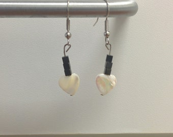 Pearl hearts with hematite earrings