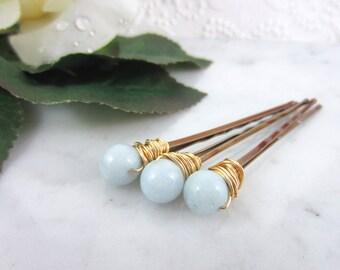 Celestite Hair Clips - Gemstone Hair Pins - Hair Pin Set - Blue Bobby Pins - Serenity Wedding Accessories - Something Blue - Bridal Hair Pin