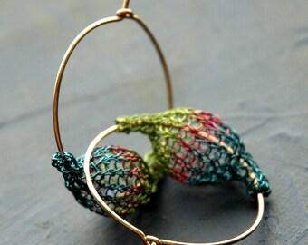 Gold hoop earrings - Peacock pod hoop earrings -  green blue and plum - crocheted wire jewelry - Gypsy bohemian fashion
