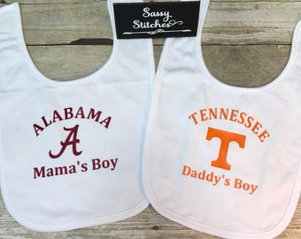Baby bibs, house divided baby bibs, tennessee baby bib, alabama baby bibs, baby shower gift, baby gift, momas boy, dads boy, bibs, baby