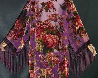 Violet Purple Goddess with Burgundy Victorian Rose's Kimono Duster