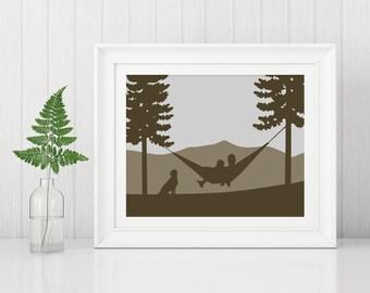 Adventure Engagement Gift, Personalized Mountain Wedding Art, Mountain Wedding Gift, Mountain Anniversary Gift, Mountain Dog, Hammock Art