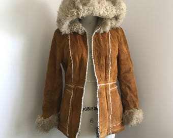 Vintage 70s Suede Faux Shearling Lined Penny Lane Jacket Size S/M