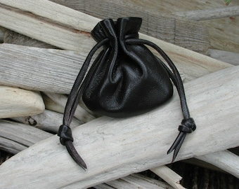 Leather Pouch, Drawstring Bag, Leather Pouch Bag, Coin Purse, Black Bag, Shirlbcreationstoo Handmade in the USA