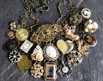 Antique collectibles mementos assemblage three layer collage necklace 1800s oldnouveau vintage locket cameo jewelry statement over top bib