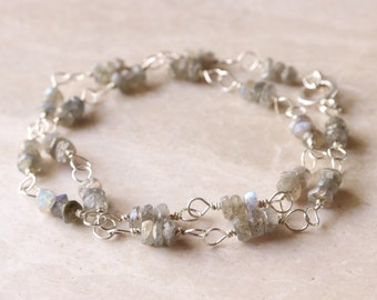 Labradorite - Rondelle - Gemstone - Bead - Sterling Silver - 925 - Wire Link - 16 Inch - Double - Wrap Bracelet  - Necklace - Toggle Clasp