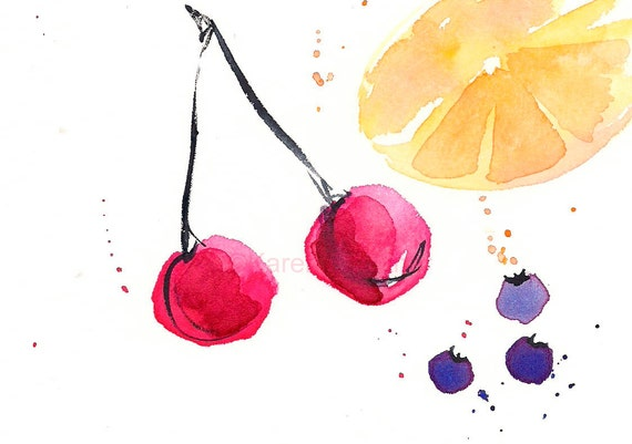 """Watercolor print of cherries, blueberries and citrus: """"Fruit Punch"""""""