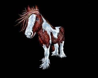 pastel, chalk, print, horse drawing
